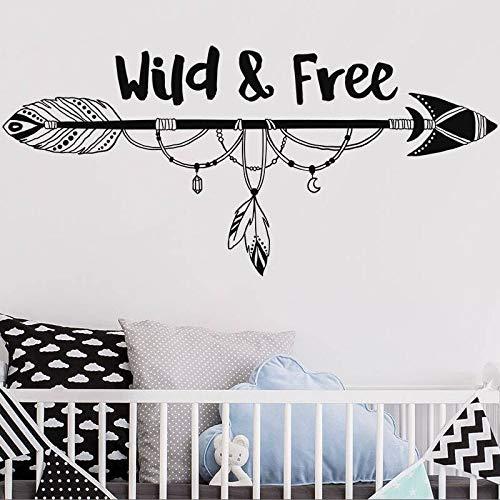 zqyjhkou Freccia Tribale Wall Sticker Nursery Freccia Selvaggia e Libera Adesivo Camera dei Bambini Decor Vinyl Wall Quote Stickers Frecce Murale Ay1224 90x42cm