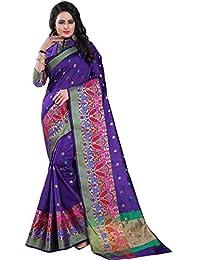 Vatsla Enterprise Women's Banarasi Cotton Silk Saree With Blouse Piece(VSWNRNPRPL06_PURPLE)
