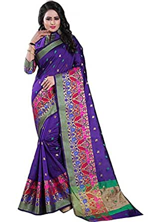 Vatsla Enterprise Cotton Silk/Silk Saree (Multicolor_Free Size)