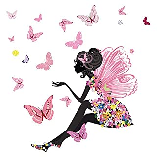 azutura Flower Fairy Wall Sticker Scene Butterfly Wall Decal Girls Room Nursery Decor available in 8 Sizes Gigantic Digital