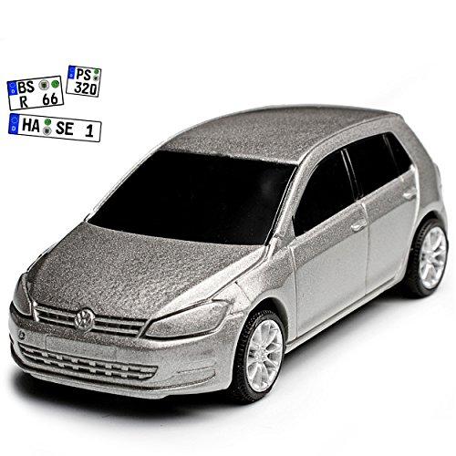 Rietze Volkwagen Golf VII Grau 5 Türer Ab 2012 1/64 Modell Auto mit individiuellem Wunschkennzeichen