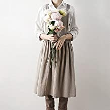Cikuso Delantales Simple Washed Cotton Uniform Delantales para Mujer LadyS Kitchen Cocinar Gardening Coffee Shop Avena