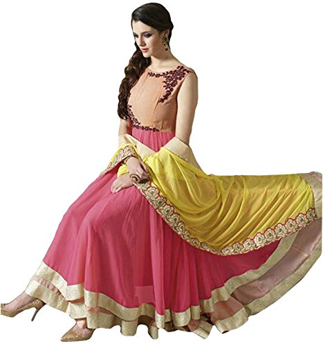 Aryan Fashion Women\'s Georgette Semi-Stitched Dress Material (Afs-Er-Er10616_Cream_Free Size)