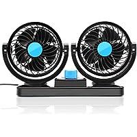 KanCai 12V ventilador de coche eléctrico de 360 grados rotativo 2 velocidad doble cabeza de ventilador