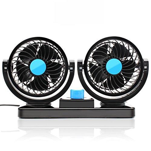 KanCai 12V ventilador de coche eléctrico de 360 grados rotativo 2 velocidad doble cabeza de ventilador de aire de circulación de aire del ventilador para camiones SUV RV barco de vehículos