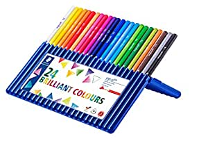 Staedtler 157 SB24 Ergosoft Triangular Colouring Pencils - Assorted Colours, Pack of 24