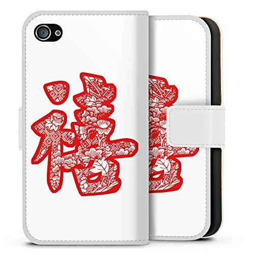Apple iPhone X Silikon Hülle Case Schutzhülle China Schriftzeichen Asien Sideflip Tasche weiß