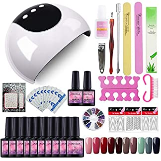 Saint-Acior Kit Uñas de Gel 10PCS Esmalte Semipermanente 8ml UV/LED Lámpara 24W Secador de Uñas Primer Top Coat Kit para Manicura