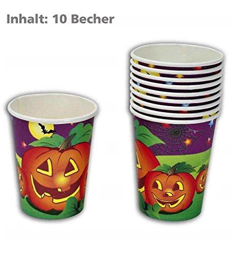 oween-Becher (10er Pack), Pappbecher/ Einwegbecher, Tischdekoration, Halloween Gedeck ()