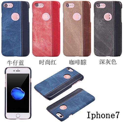 EKINHUI Case Cover IPhone 7 Plus Fall-Abdeckung, Cowboy-Jeans-Beschaffenheits-Muster-harte lederne Plastikrückseiten-Abdeckung für IPhone 7 Plus ( Color : Red , Size : IPhone 7 Plus ) Black