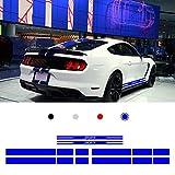 Autocollant de Voiture pour F ord M ustang 15-17 Autocollant de carrosserie Bande Latérale de Corps de Voiture Autocollant de Décalque Voiture Style Sticker 200x10+250x20+235x20cm Bleu