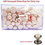 R Wellness Ghee Diya batti for Pooja - (12 cm x 10 cm x 10 cm, Set of 100, White)
