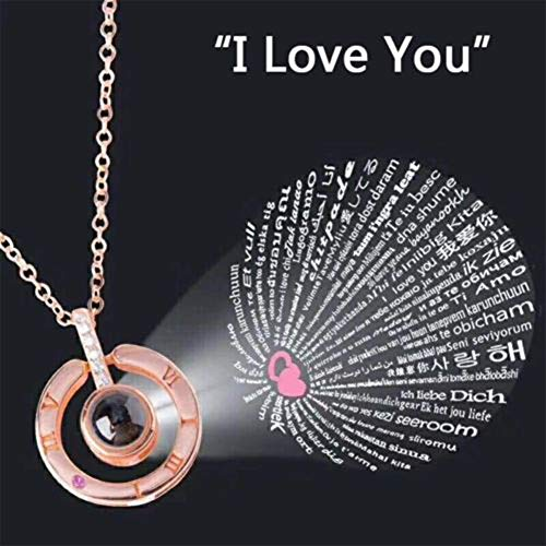 FairOnly Unique I Love You in 100 Languages Fashion Pendant Necklace for Memory of Love for Wife Girlfriend