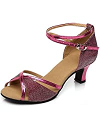 WYMNAME Mujeres Zapatos de Baile Latino,Tacones Mediados [Fondo Blando] Zapatos de Baile Social Zapatos de Baile...