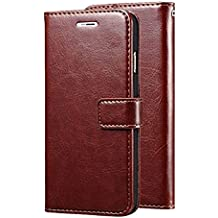 Lychee Vintage Leather Wallet Flip Book Cover Case for Samsung Galaxy J7 Next (Brown)