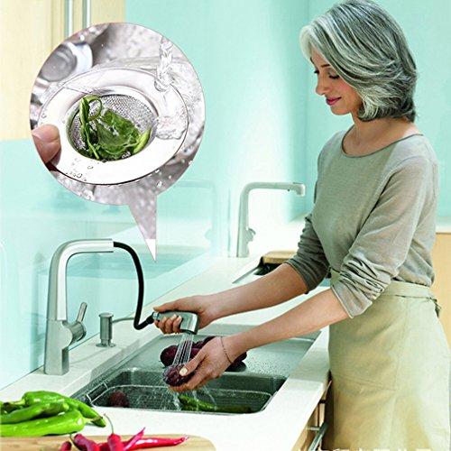 creatspaceE Edelstahl-Abfluss-Sieb für Küche, Boden, Abfluss, verhindert Verstopfen, Abwassersieb und Wassertankfilter, silberfarben