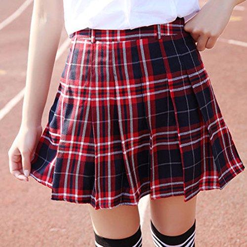 URSFUR Rock Cosplay Party Schulmädchen Kostüm knielang Damen Cosplay Hohe Taille Dress Röcke Rot Mit Schwarz