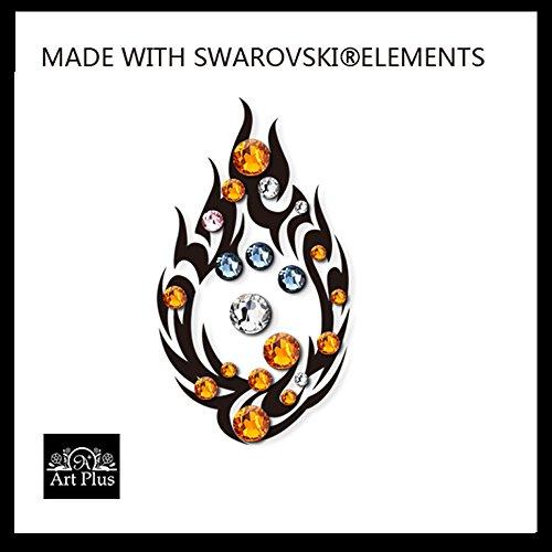 Tatuaggio temporaneo Flame Tribal Of Destiny Swarovski Crystal Gem Body Art UK Partito