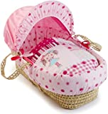 Clair de Lune My Dolly Palm Wicker Moses Basket (Pink)