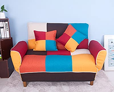 Life Carver Adjustable Colorful Patchwork Fabric Sofa Bed Loveseat Couch Home Furniture Sofa with 2 Free Pillows - inexpensive UK light shop.