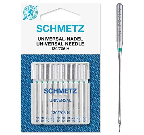 SCHMETZ Nähmaschinennadeln 10 Universal-Nadeln | 130/705 H | Nadeldicke: 70/10 | geeignet für alle gängige Haushalts-Nähmaschinen -