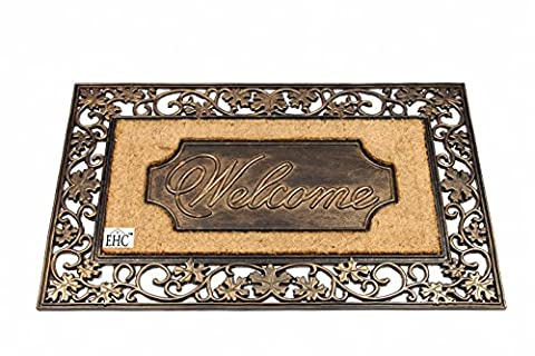EHC 58 x 96 cm X-Large Bronze Finish Artistic Leaf Welcome Rubber and Coir Door Mat