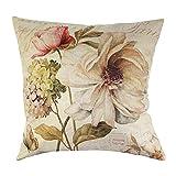 Bluelans Housse de coussin en coton et lin Motif Rose vintage 45,7x 45,7cm -  multicolore - Taille unique