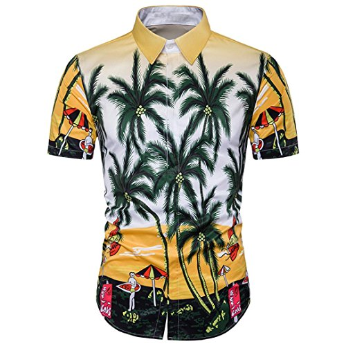 Stylish und Mode Hawaiian Bedrucktes T-Shirt, Amlaiworld Herrent Sommer attraktives kurzes Hülsen-T-Shirt (XXXL, Mehrfarbig) (Shirt Hawaiian Baumwolle)