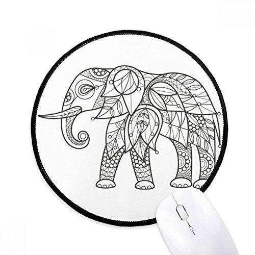 (DIYthinker Malen Elephant Freund Zahn Runde Griffige Mousepads Schwarz Titched Kanten Spiel Büro-Geschenk)