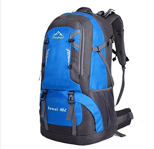 LQABW Outdoor Sport Mountaineering Freizeit Reisen Schulter Wandern Männliche Und Weibliche Wasserdichte Rucksack-Tasche Blue