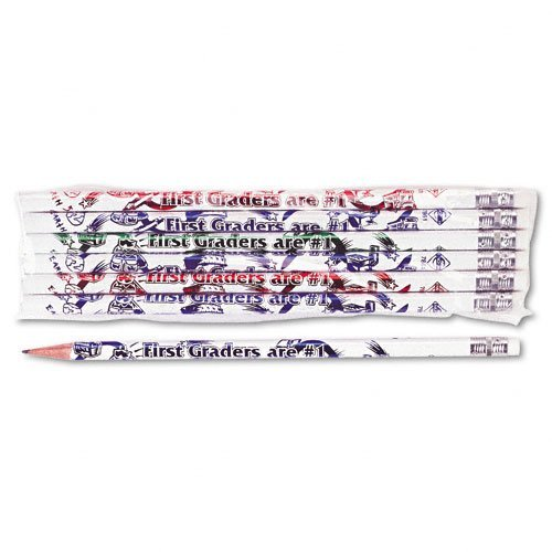 Decorated Wood Pencil, First Graders Are #1, #2, White Brl, Dozen by Moon