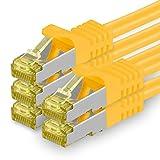 1aTTack.de Cat.7 Netzwerkkabel 0,25m - Gelb - 5 Stück - Cat7 Ethernetkabel Netzwerk Lan Kabel Rohkabel 10 Gb/s (Sftp Pimf) Set Patchkabel mit Rj 45 Stecker Cat.6a