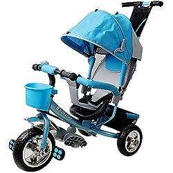 Dreirad Kinderdreirad Fahrrad Raceline Kinder Kleinkinder Baby ✔verstellbares Sonnenschutzdach ✔abnehmbare Lenkstange ✔verstellbare Fußablage ✔blau