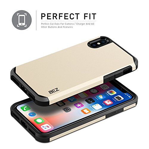 iPhone X Hülle - BEZ® Handyhülle Stoßfestes Etui, [Heavy Duty Serie] Outdoor Dual Layer Armor Case Handy Schutzhülle [Shockproof] robuste Hülle für iPhone X - Schwarz Gold