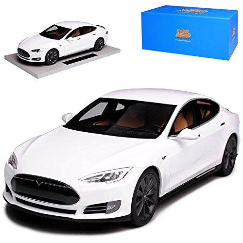 LS Collectibles Tesla Model S Weiss Ab 2012 limitiert 1 von 250 Stück 1/18 Modell Auto mit individiuellem Wunschkennzeichen