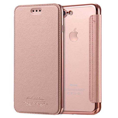 For iPhone 5/5s/se Case, Transparent Smooth Case Ultra Slim PU Leather Folio Flip Case with Card Slot & Clear Soft TPU Back Cover Premium Slim-Fit Protective for iPhone 5/5S/SE - Rose Gold Gold
