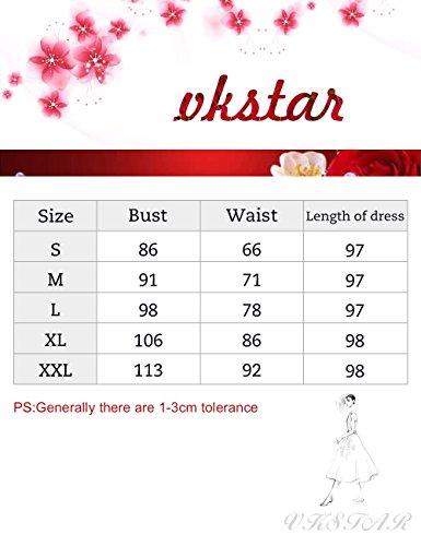 VKStar Retro Kleider Damen 50er 60er Vintage Kleider sommer ärmellos Rockabilly Abendkleid Hellgrün S - 6