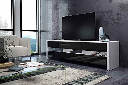 Skylight - Meuble TV / Banc TV ( 139 cm - Blanc Mat/ Noir Brillant)
