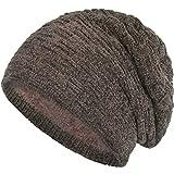 Compagno warm gefütterte Beanie Wintermütze angesagtes Strickmuster Fleece-Futter Mütze Einheitsgröße, Farbe:Samt Beige