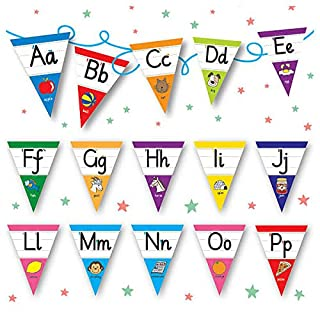 Pedagogs Alphabet Bunting - Laminated for Classroom x 30 Flags - Primary Teaching Services