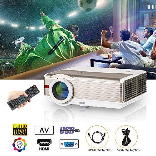 LED LCD Home Proyector Exterior 5000 Lúmenes WXGA HD 1080p Home Cinema Proyector de Video con Dual HDMI Dual USB VGA AV TV Audio Out Altavoces incorporados para Android Smartphone iPhone Mac Laptop PS4 Xbox TV (Manual Inglés, Plug estándar de Reino Unido)