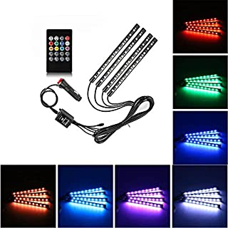 Ambertech Multicolor Music Car Interior Light 4PCS 48 LEDs Automobile LED Strip Lights Glow Neon Decoration Lamp with Sound Active Function and Wireless Remote Control