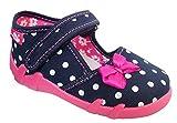 Renbut Kinder Mädchen Baby Hausschuhe Ballerinas Schleife Pink Blau Navy Punkte Weiß Innensohle Leder Größe 19