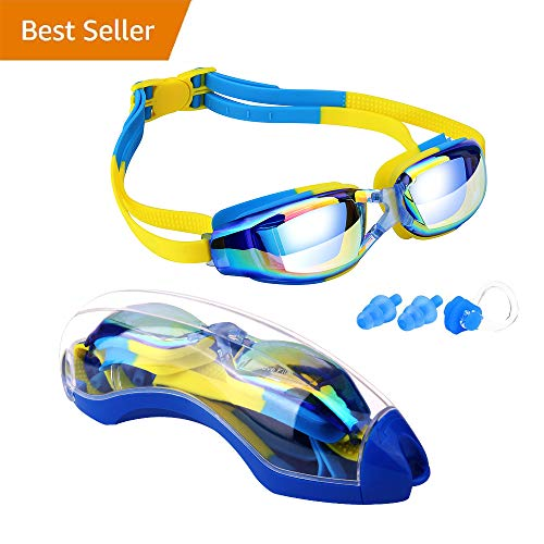 Kinder Schwimmen Brillen, hurdilen Schwimmen Brillen für Kinder Schwimmbrille mit Anti-Fog UV-Schutz kein Auslaufen beschichteter Linse mit Fall, Nase Clip, 2Für Jungen Mädchen Youth Kinder, Blue&Yellow