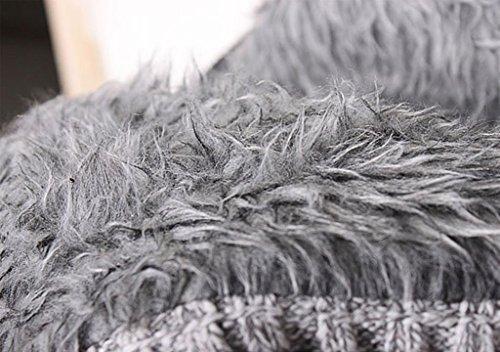 Herren Herbst Winter Lässig Strickjacke mit Kapuze Cardigan Reißverschluss Einfarbig Hellgrau
