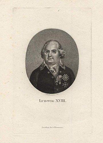 Ludwig XVIII.. Kupferstich-Porträt von Hüllmann.