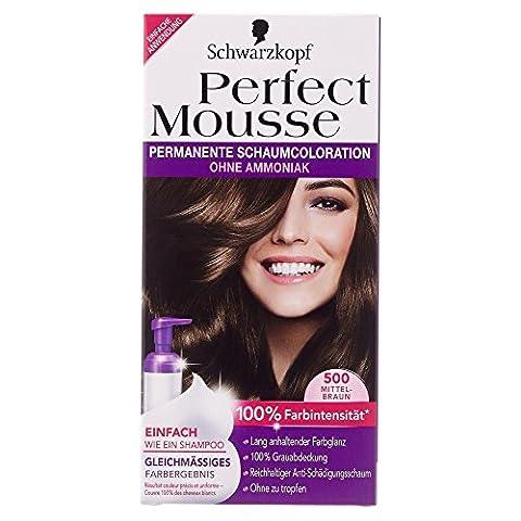 Parfait Schwarzkopf Mousse couleur de cheveux permanente 500 Moyen Brown