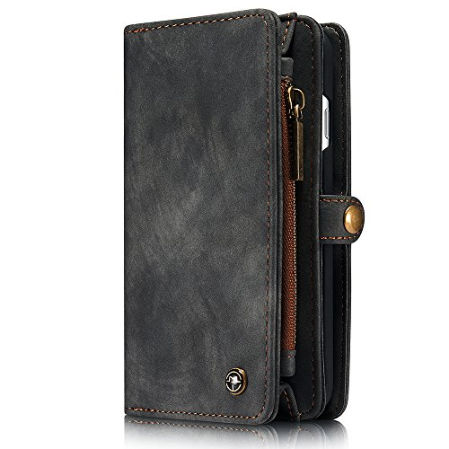 HARRMS Apple iPhone 6 Plus/6s Plus(5,5') Leder Case Handy Hülle Handytasche Geldbörse mit Kredit Kartenfächer Brieftasche Premium mit abnehmbar Magnet Schutzhülle,Grau