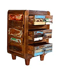 Theshopy Wooden 3 Drawer Bed Side made by old recycle wood A733