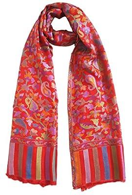 Mehrunnisa Ethnic Kani Silk Wool Stole/Large Scarf Wrap From Kashmir